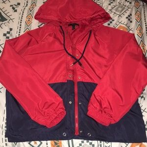 Forever21 Red & Navy Blue Zip Up Jacket